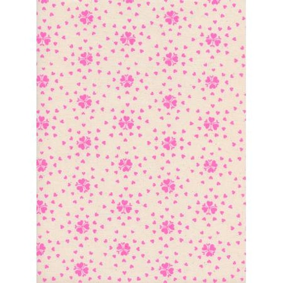 K3044-001 Yours Truly - Heartburst - Natural Unbleached Cotton Neon Pigment Fabric- Cotton and Steel- RJR-