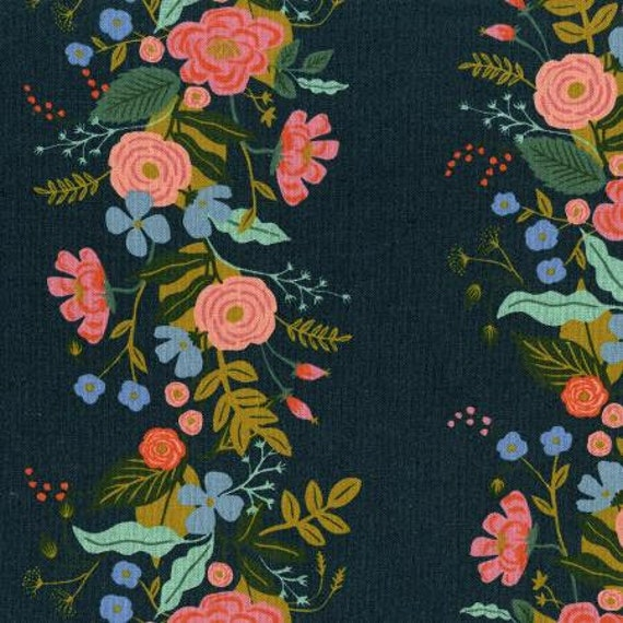 AB8067-022 English Garden - Floral Vines - Navy CANVAS Fabric- By Rifle Paper Co- Cotton and Steel- RJR-sold by the half yard or the yard