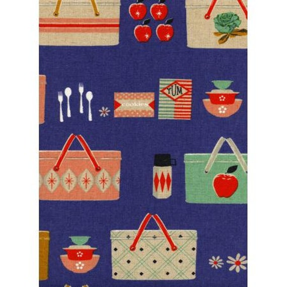 Cotton & Steel, M0018-032 Picnic - Picnic Baskets - Cobalt CANVAS Fabric, sold by the 1/2 yard or the yard