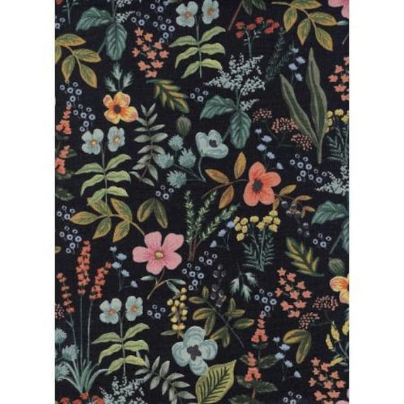 Cotton + Steel - Rifle Paper Co. - Amalfi Collection - CANVAS Herb Garden in Midnight, sold by the 1/2 yard or the yard