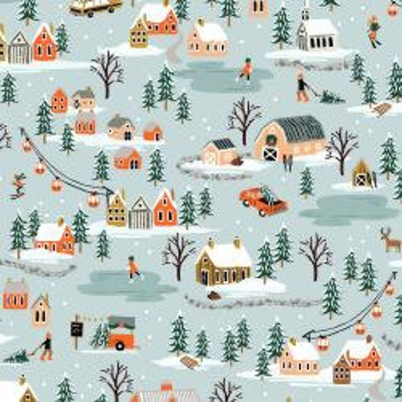 Holiday Classics,  Holiday Village, Mint Fabric, RP603-MI1, By Rifle Paper Co, for Cotton and Steel, sold by the 1/2 yard or the yard