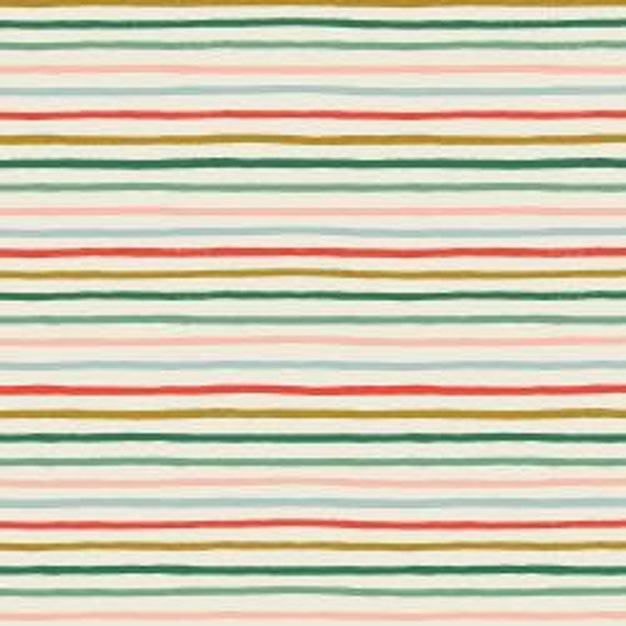 Holiday Classics,  Festive Stripes, Multi Metallic Fabric, RP609-MU1M, By Rifle Paper Co,Cotton and Steel, sold by the 1/2 yard or the yard