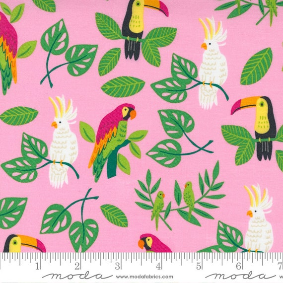 Jungle Paradise Pink, Birds In Paradise, By Stacy Iest Hsu, 20782 13 Moda, sold by the 1/2 yard or the yard