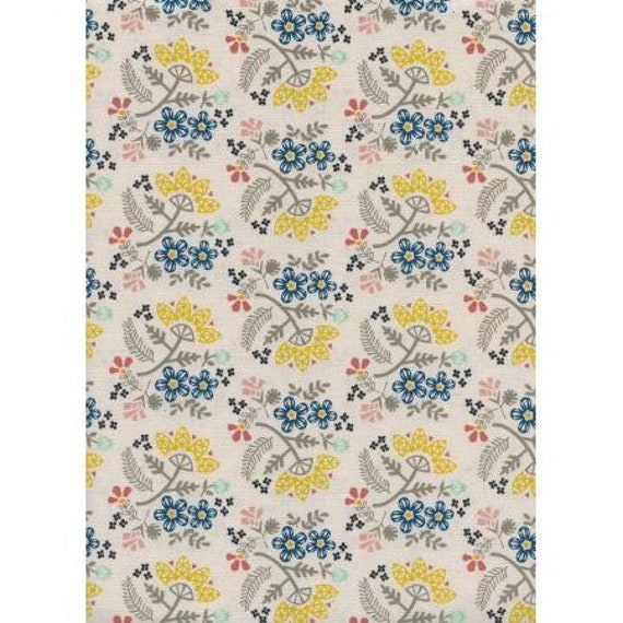 Paper Cuts- Paper Bouquet- Lemon Unbleached Cotton- R1966-001- Cotton and Steel/RJR- sold by the 1/2 yard or the yard cut continuous