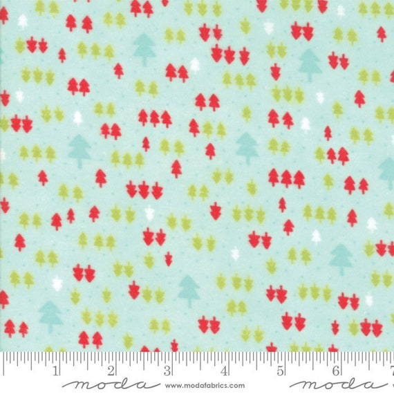 Vintage Holiday Aqua 55163 13F, By Bonnie and Camille for Moda Flannel, sold by the 1/2 yard – cut continuously