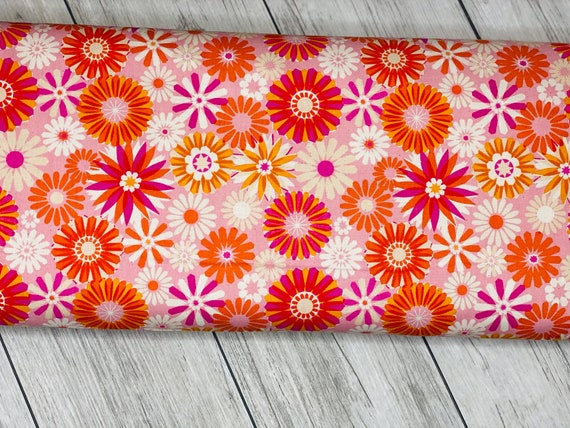 Freshly Picked - Garden - Pink Unbleached Cotton- M0061-001- Melody Miller- Cotton and Steel- R1972-002-  Sold by the 1/2 yard or the yard