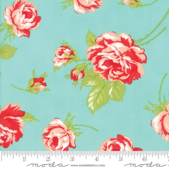 """54"""" Smitten Lawns Aqua 55170 12LW Moda,  sold by the 1/2 Yard - Cut Continuously"""