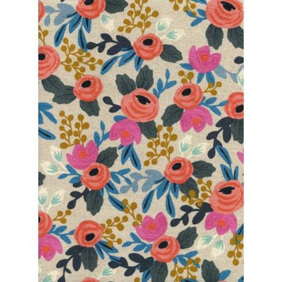AB8012-012 Les Fleurs - Rosa Floral - Natural CANVAS Fabric-Rifle Paper Co- Cotton and Steel/RJR- Sold by the 1/2 yard or the yard