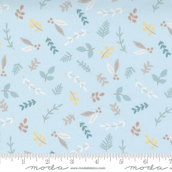 Little Ducklings, Leaves in Blue, 25102 15 Moda, By Paper And Cloth, Sold by the 1/2 yard or the yard