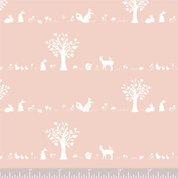 Birch Organic Fabric, Forest Friends in Blush, Storyboek ,sold by the half-yard or the yard