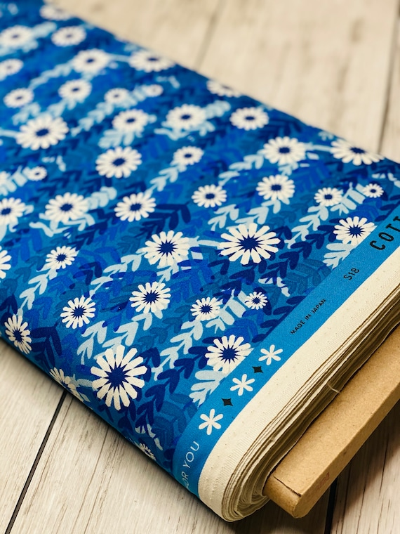 Freshly Picked - Daisies - Blue Unbleached Cotton Fabric- M0062-002- Melody Miller- Cotton and Steel- Sold by the 1/2 yard or the yard