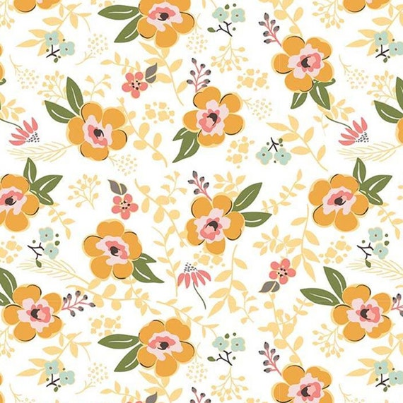 Flannel 'Sweet Prairie' Main Floral on White by Riley Blake, sold by the 1/2 yard – cut continuously