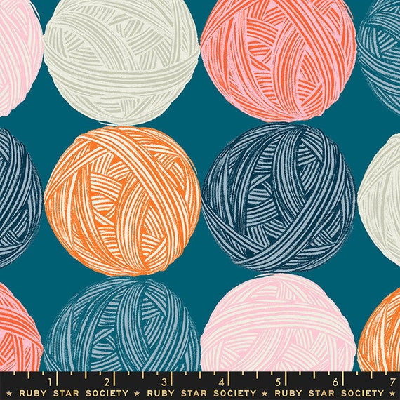 Purl Wound Up Teal, By Sarah Watts, RS2030 12, Ruby Star, Sold by the 1/2 yard or the yard