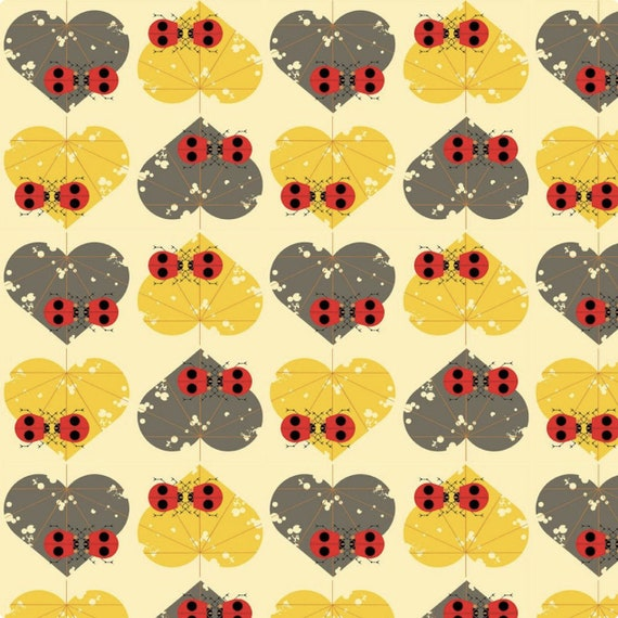 Birch Fabric, Charley Harper Lakehouse Vol. 2 Collection, Ladybug Lovers (CH-144)- Organic Cotton/poplin- Sold by the 1/2 yard or the yard