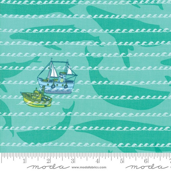 Pacific Wanderings- Sea Green- by Mara Penny- 13323 13 Moda- quilting cotton- sold by the 1/2 yard or the yard