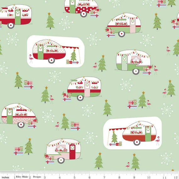 Christmas Adventure, Main Sweetmint, SC10730- Sweetmint, by Beverly McCullough, for Riley Blake, sold by the 1/2 yard or the yard