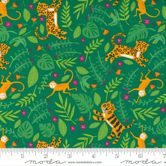 Jungle Paradise Monstera, 20783 21 Moda, Jungle Fun, Tigers Monkeys Birds Leopards, By Stacy Iest Hsu, sold by the 1/2 yard or the yard