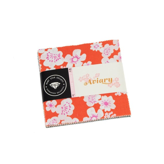 Ruby Star Society Aviary, Precuts, Charm Pack 5 Inch Squares 9 Prints in 42 Squares