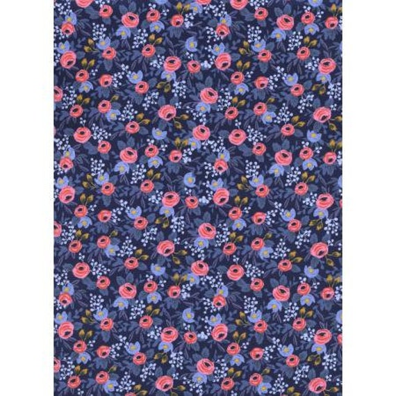Les Fleurs - Rosa - Navy Fabric- AB8004-002 - Rifle Paper Co- Cotton and Steel/RJR- Sold by the 1/2 yard or the yard