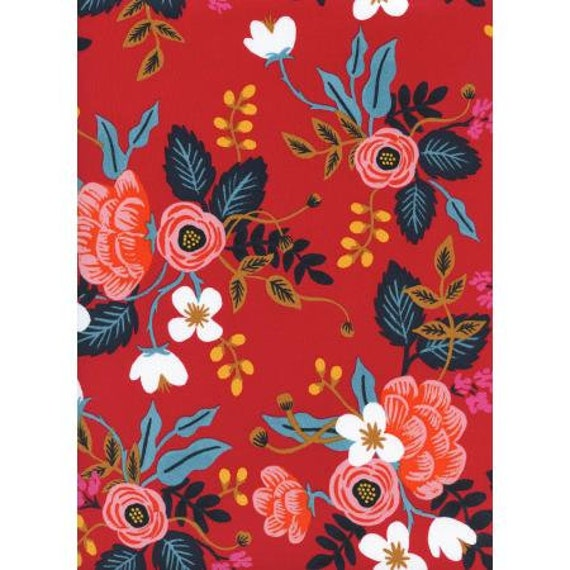 AB8008-035 Les Fleurs - Birch Floral - Enamel RAYON Fabric- Rifle Paper Co- Cotton and Steel/RJR sold by the 1/2 yard or the yard