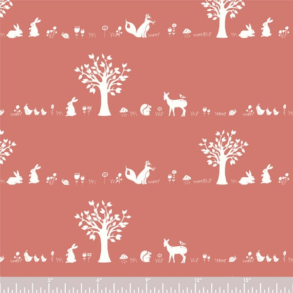 Birch Organic Cotton Poplin, Storyboek Drie- Forest Friends BIFK-SD-05-Cora, Coral Red by Jay-Cyn Designs- sold by the 1/2 yard or the yard
