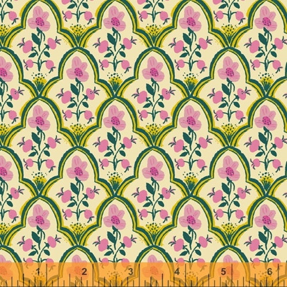 Malibu, Green Floral, 52151-7, By Heather Ross For Windham Fabrics, Sold by the 1/2 yard or the Yard and Cut Continuous from bolt