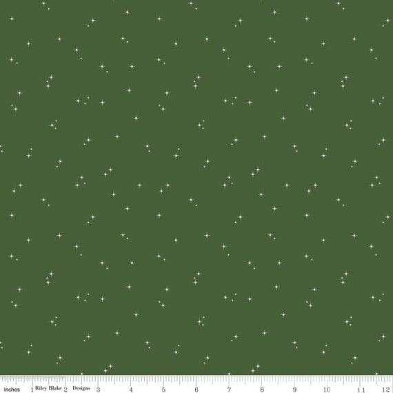 Mod Meow, Stars Green, C10284-GREEN, By Amanda Niederhauser for Riley Blake, Sold by the 1/2 yard or the yard