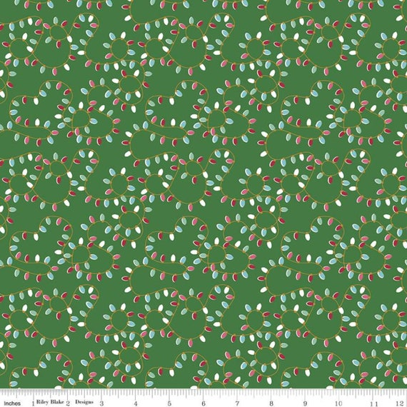 Christmas Adventure, Green lights, SC10733-GREEN, by Beverly McCullough, for Riley Blake, sold by the 1/2 yard or the yard