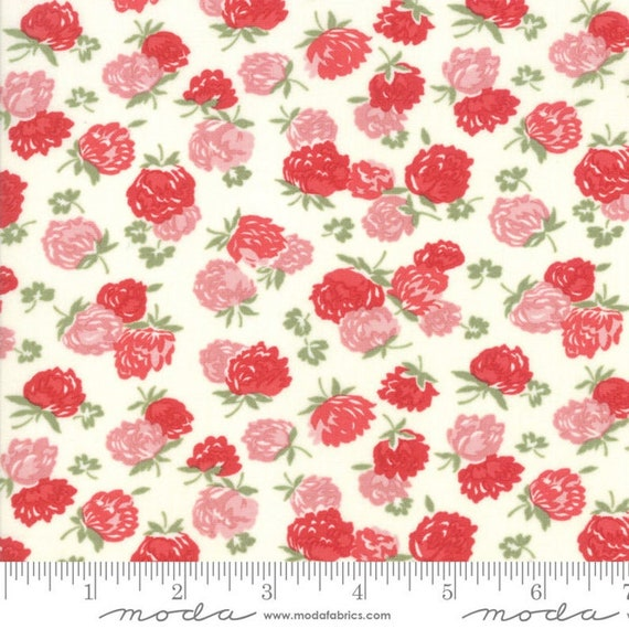 At Home Cream Red, 55203 16 Moda, By Bonnie and Camille, sold by the 1/2 yard or the yard