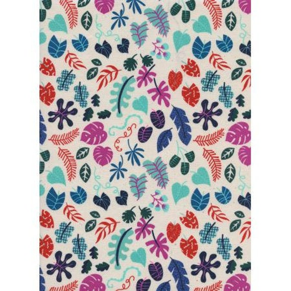 R1955-003 Lagoon - Leafy Wonder - Natural Unbleached Cotton Neon Pigment Fabric-Cotton and Steel/RJR- Sold by the half-yard cut continuous
