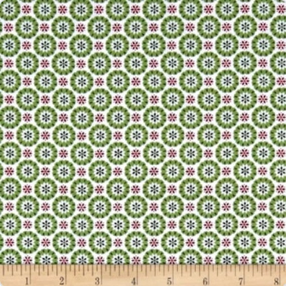 Hygge Christmas, Christmas Green Heart Snowflakes, Yardage, fabric, sold by the 1/2 Yard - Cut Continuously