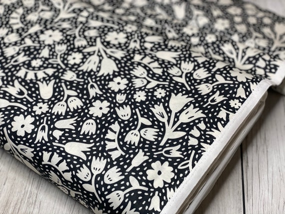 Squeeze-Floral | Figo | Floral- Black | 100% cotton | 90300-99 | quilting cotton | Dana Willard | sold by the 1/2 yard or the yard