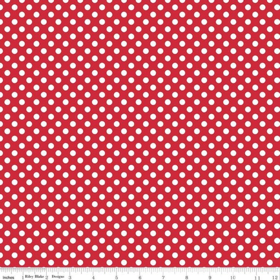 Small Dots- Red- Riley Blake Basics- sold by the 1/2 yard or the yard