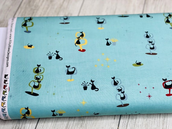 Mod Meow Main Cottage, C10280-COTTAGE, by Amanda Niederhauser for Riley Blake, Sold by the 1/2 yard or the yard