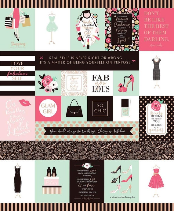 Glam Girl Panel Mint Sparkle ~ Glam Girl Collection~ Dani Mogstad for Riley Blake Designs 100% Cotton