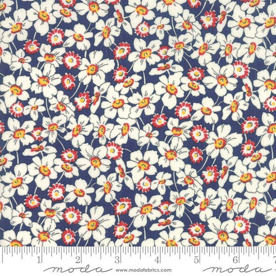 Bubble Pop - Navy, Red, White Floral Print- by Sandy Klop of American Jane - Moda Fabrics - 21762-16, sold  by 1/2 yard or the yard