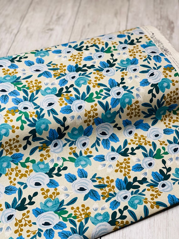 Garden Party- Rosa- Blue Unbleached CANVAS Fabric-RP521-BL1UC- Rifle Paper Co-Cotton and Steel/RJR- Sold by the 1/2 yard or the yard