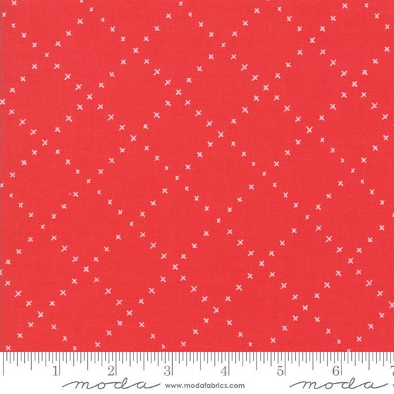 Farm Charm RED Roosters, By Gingiber for Moda Fabric, sold by the 1/2 Yard - Cut Continuously