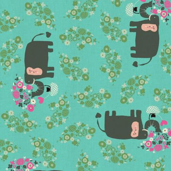 NM102-TU2U Kawaii Nakama - I Heart Elephants - Turquoise Unbleached Fabric- Cotton and Steel- RJR- Sold by the half-yard cut continuous