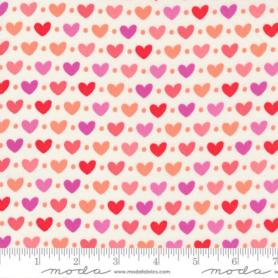Sincerely Yours Ivory/multi-color Hearts, 37610 11 Moda, By Sherri & Chelsi, sold by the 1/2 yard or the yard