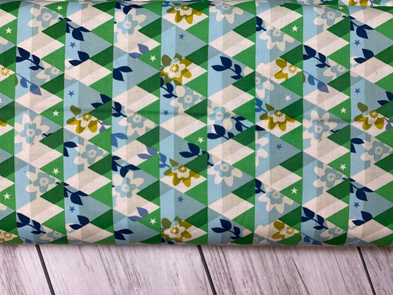 M0059-001 Flutter - Kaleidoscope - Green Unbleached Cotton Fabric- Cotton and Steel- RJR-  Sold by the half-yard cut continuous
