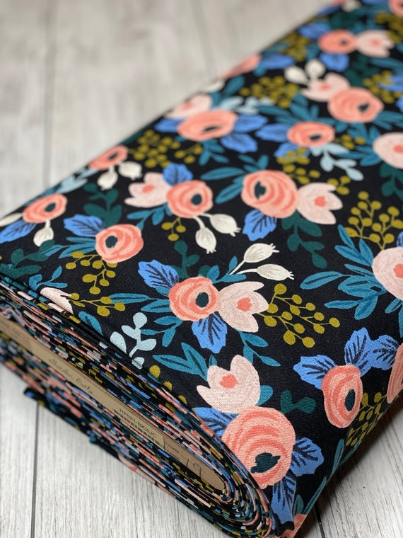 Garden Party - Rosa - Black Unbleached CANVAS Fabric- RP521-BK2UC- Rifle Paper Co-Cotton and Steel/RJR- Sold by the 1/2 yard or the yard