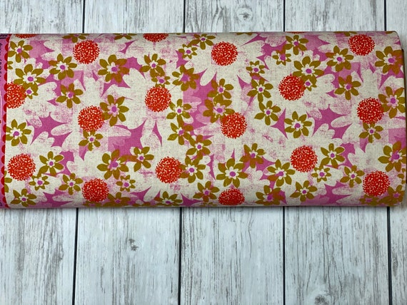 M0041-012 Trinket - Daisy Fields - Pink CANVAS Fabric- Cotton and Steel- RJR- Sold by the half-yard or the yard cut continuous