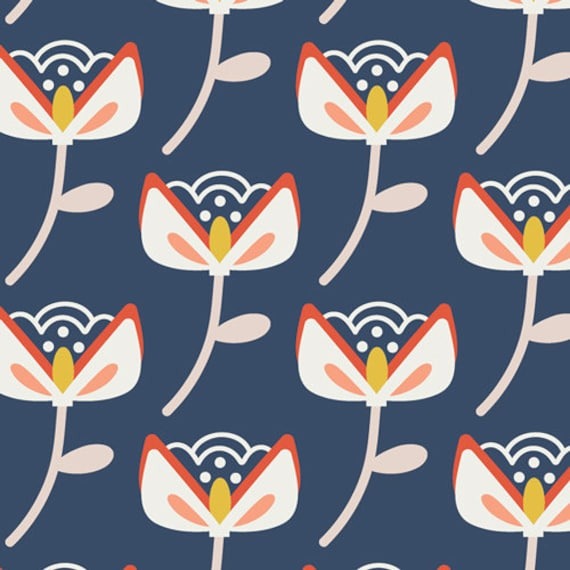 Bungalow Bloom Moonrise, From Summer Side, By Dana Willard for Art Gallery Fabrics, sold by the 1/2 yard or the yard