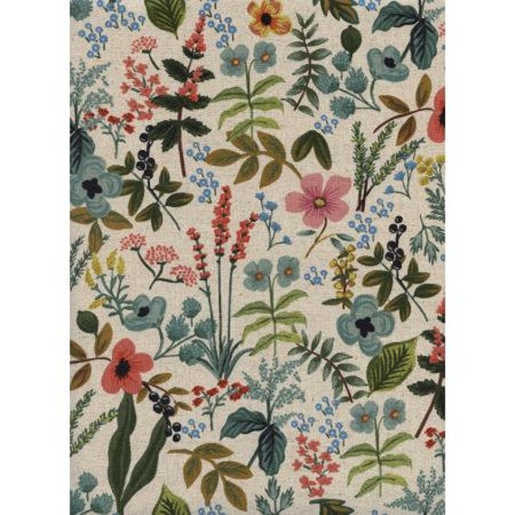 Amalfi Herb Garden by Rifle Paper Co, CANVAS,  Herb Garden Natural multi floral, AB8054-012, Sold by the half-yard or the yard