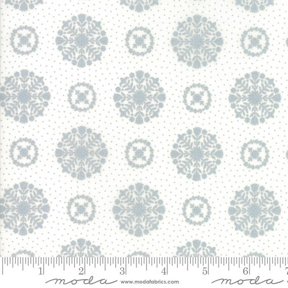 Vintage Holiday Metallic Silver 55166 18M By Bonnie and Camille for Moda, sold by the 1/2 Yard - Cut Continuously