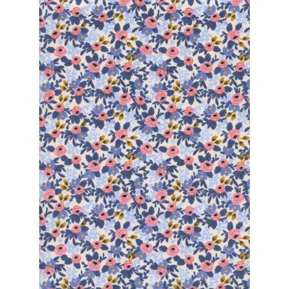 AB8004-003 Les Fleurs - Rosa - Periwinkle Fabric- Rifle Paper Co- Cotton and Steel-RJR- Sold by the 1/2 yard or the yard
