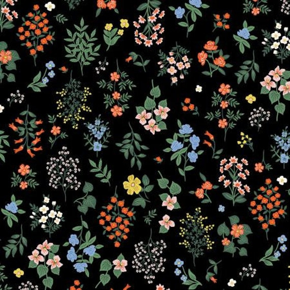 Strawberry Fields - Hawthorne - Black Fabric-RP401-BK1 - Rifle Paper Co- Cotton and Steel/RJR- Sold by the 1/2 yard or the yard