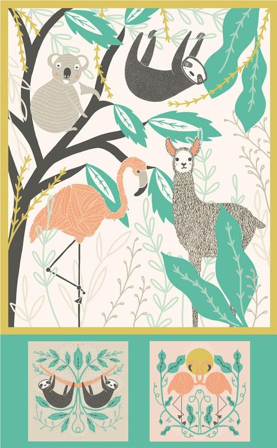 "Zoology Project Panel by Gingiber   Moda Fabrics 48301-11   100% Cotton Fabric   Blanket Panel   36"" x 58"""
