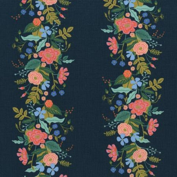 English Garden - Floral Vines - Dark Fabric- AB8058-002- Rifle Paper Co- Cotton and Steel/RJR- sold by the 1/2 yard or the yard
